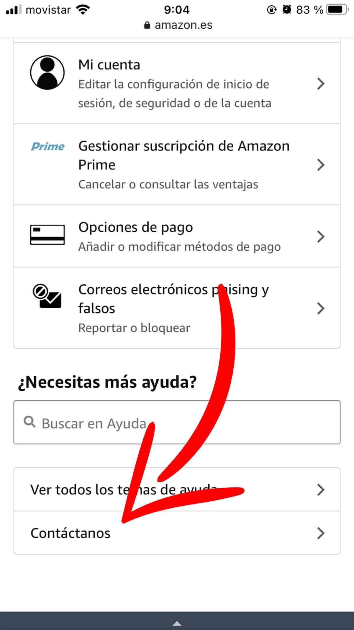 Botón de Contacto con Amazon desde el móvil