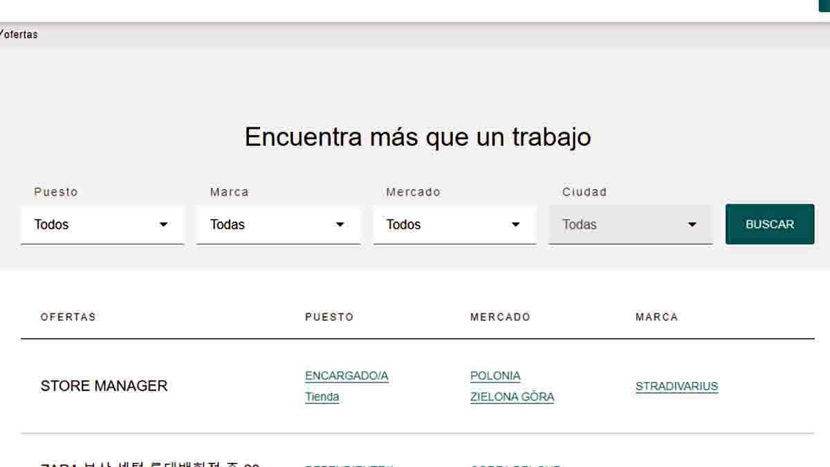 Buscar ofertas de empleo en Inditex
