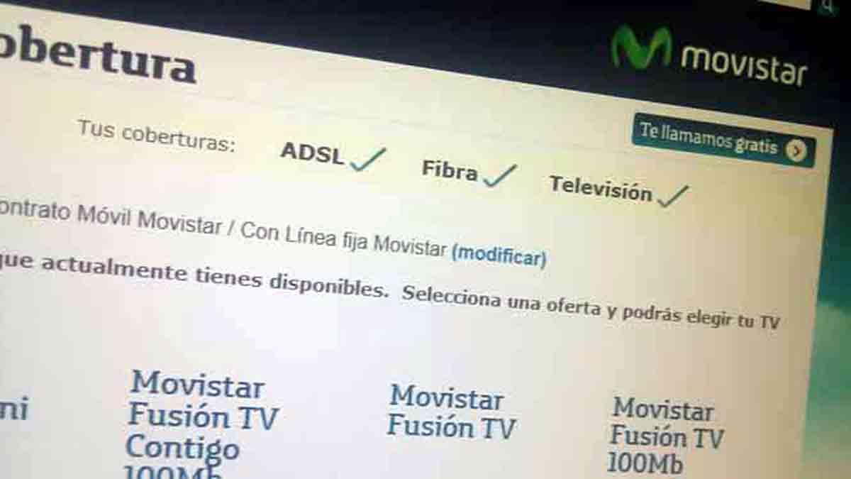 Página web de Movistar para contratar el servicio
