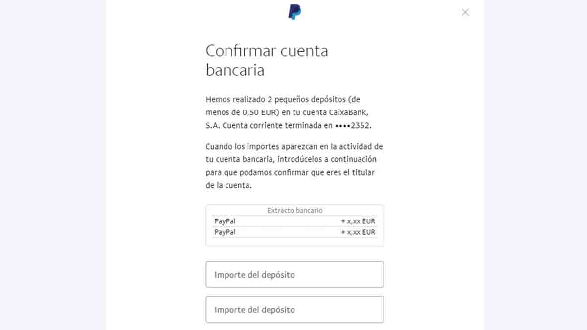 Confirma la cuenta bancaria para crear la cuenta en PayPal
