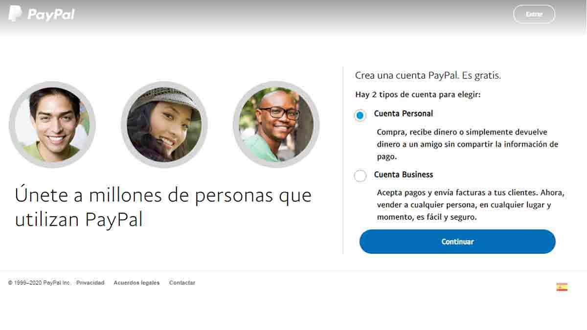 Crear una cuenta personal en PayPal