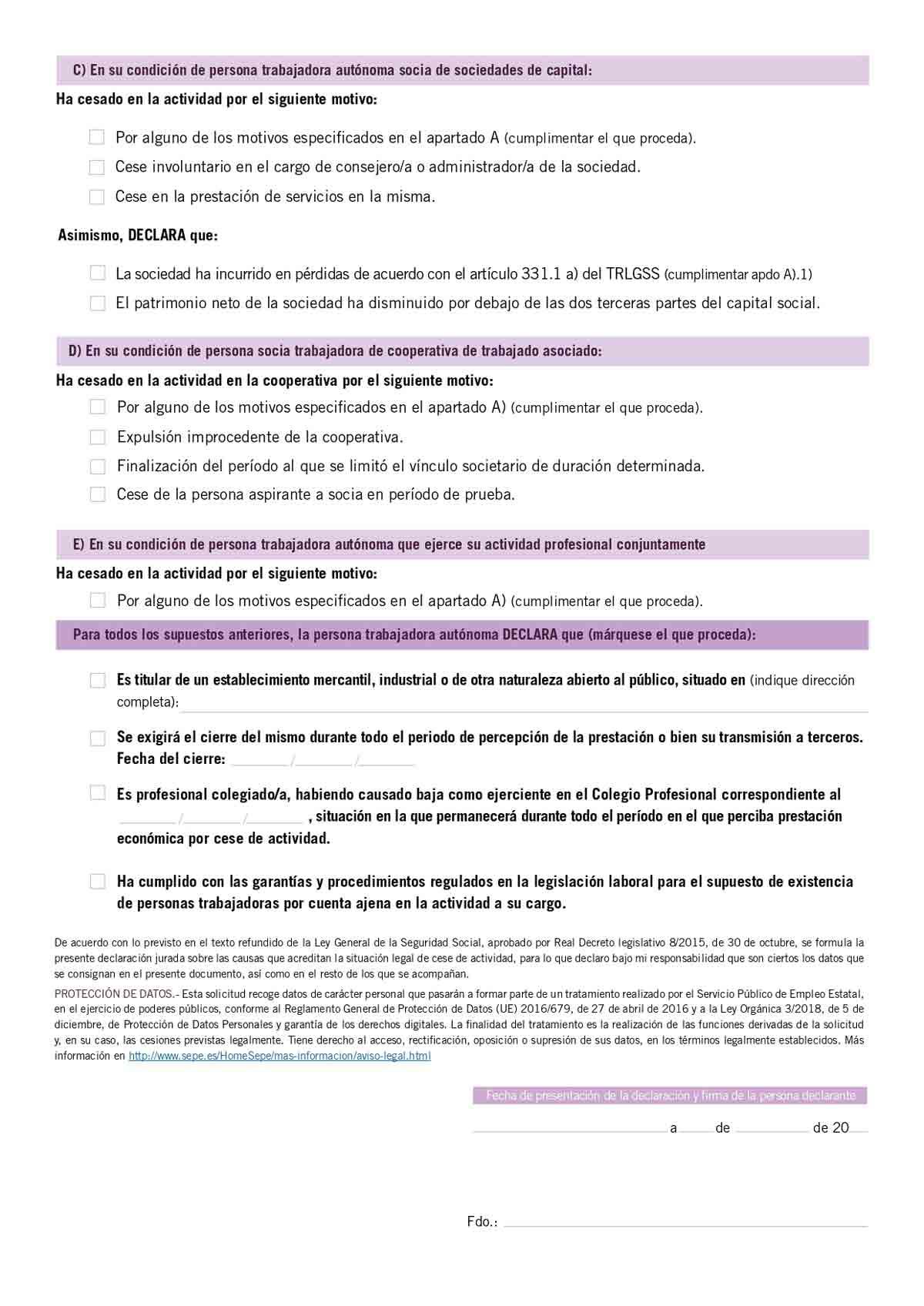 Formulario de declaración jurada para los autónomos