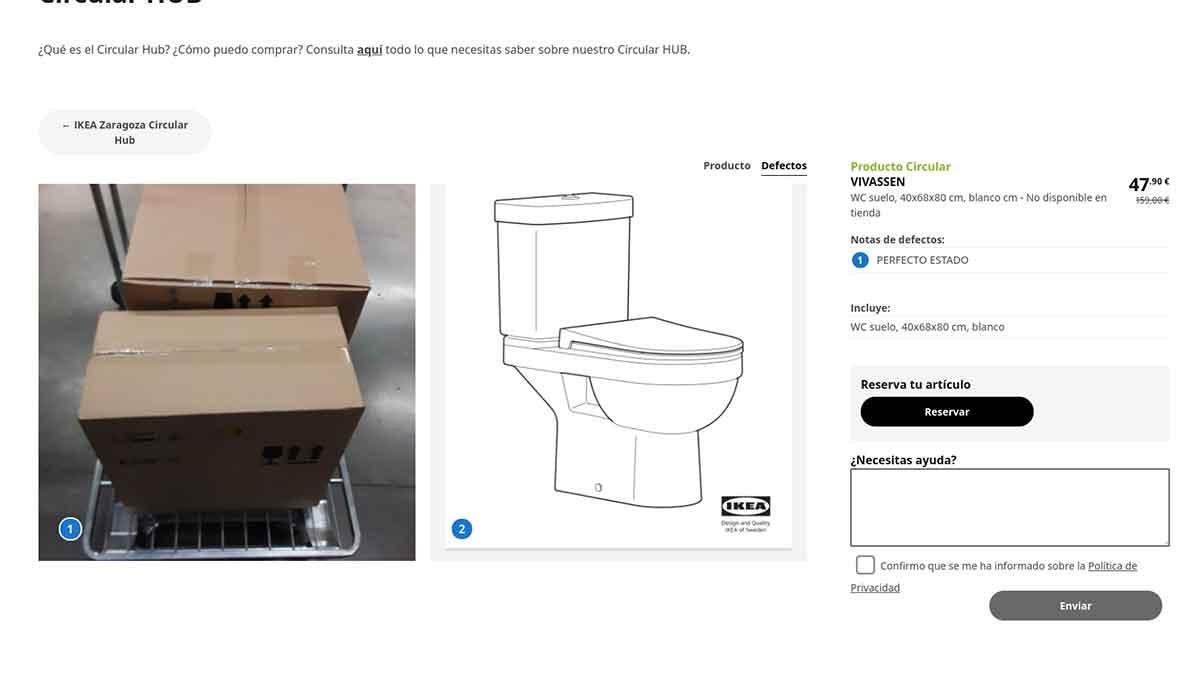 Defectos de los artículos de Circular Hub en Ikea