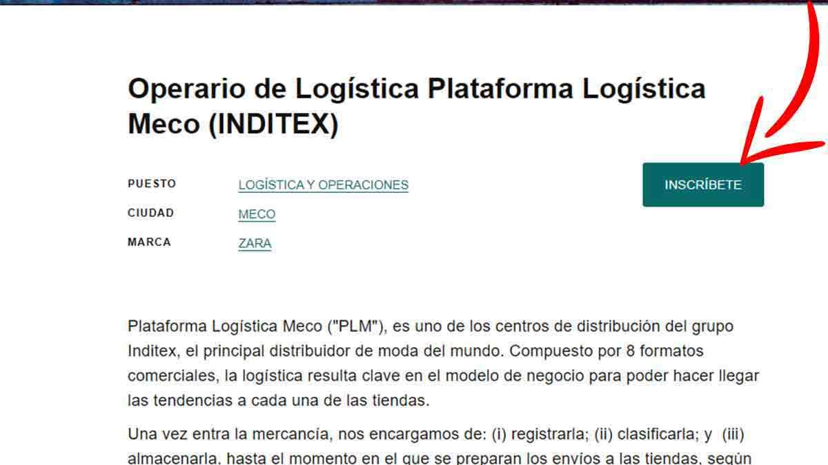Inscribirse a una oferta de logística en Inditex