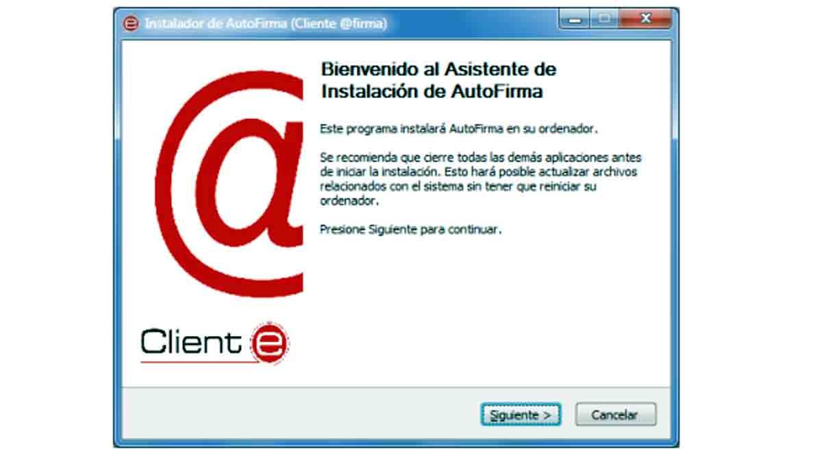 Primer paso para instalar la aplicación Autofirma