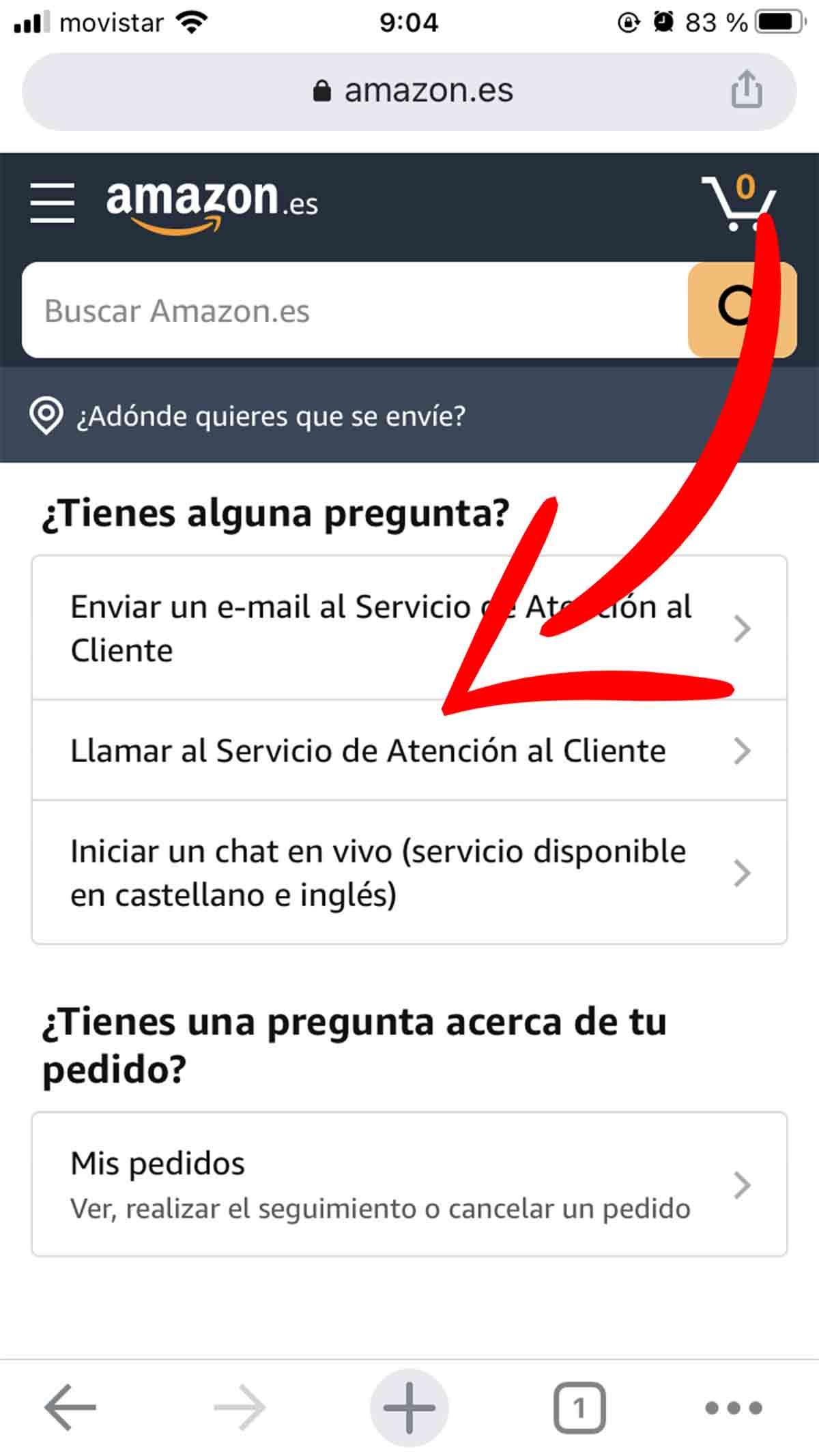 Pedir que te llamen desde Amazon