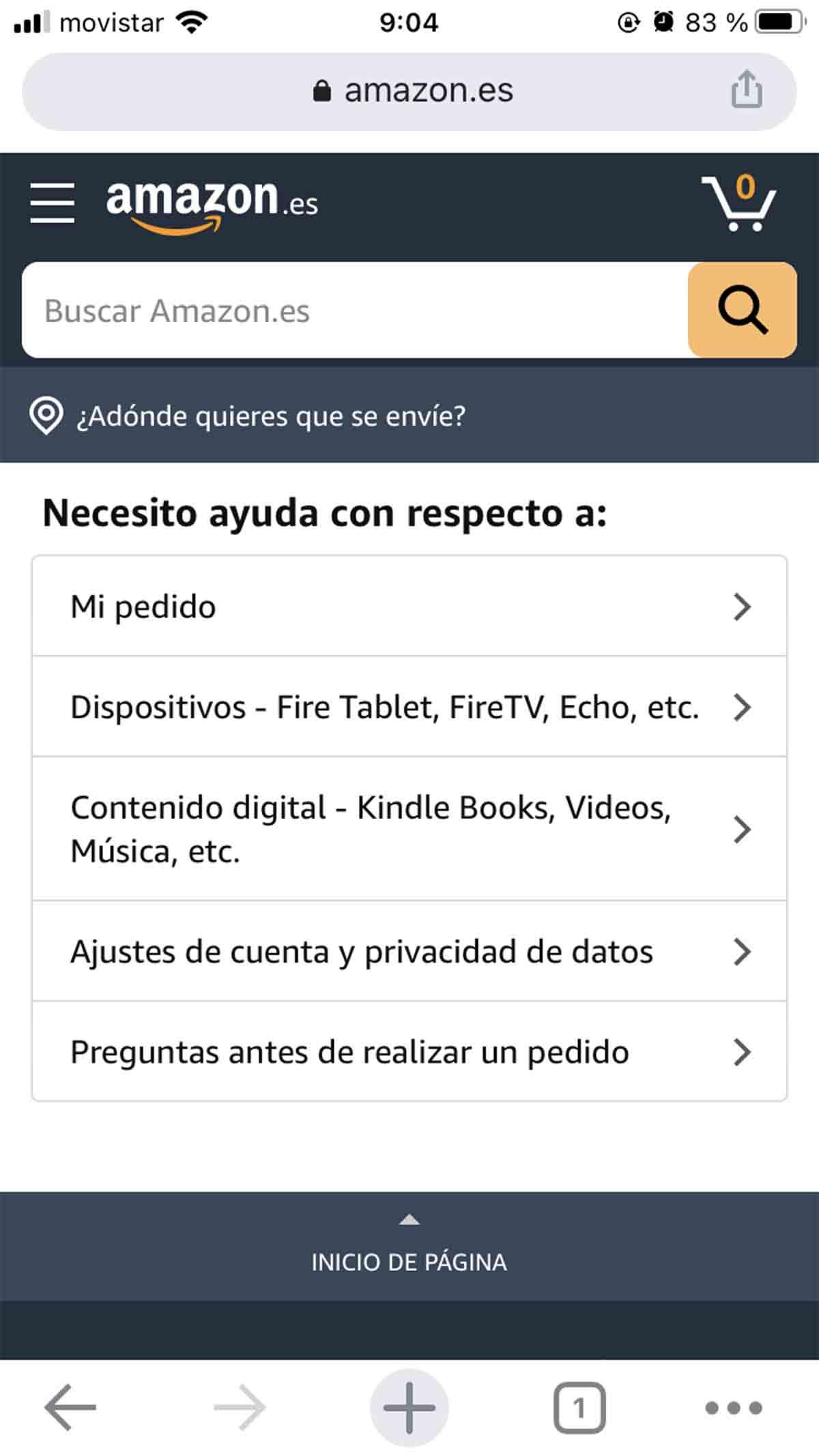 Detallar el motivo por el que quieres contactar con Amazon
