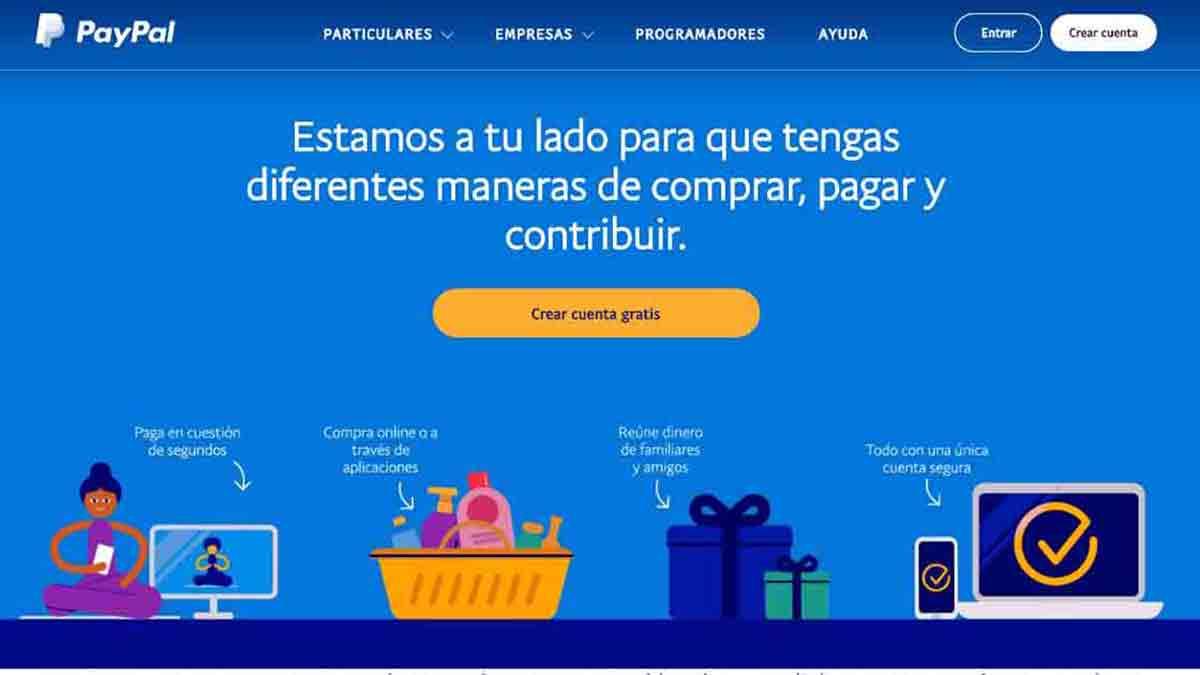 Página web de PayPal