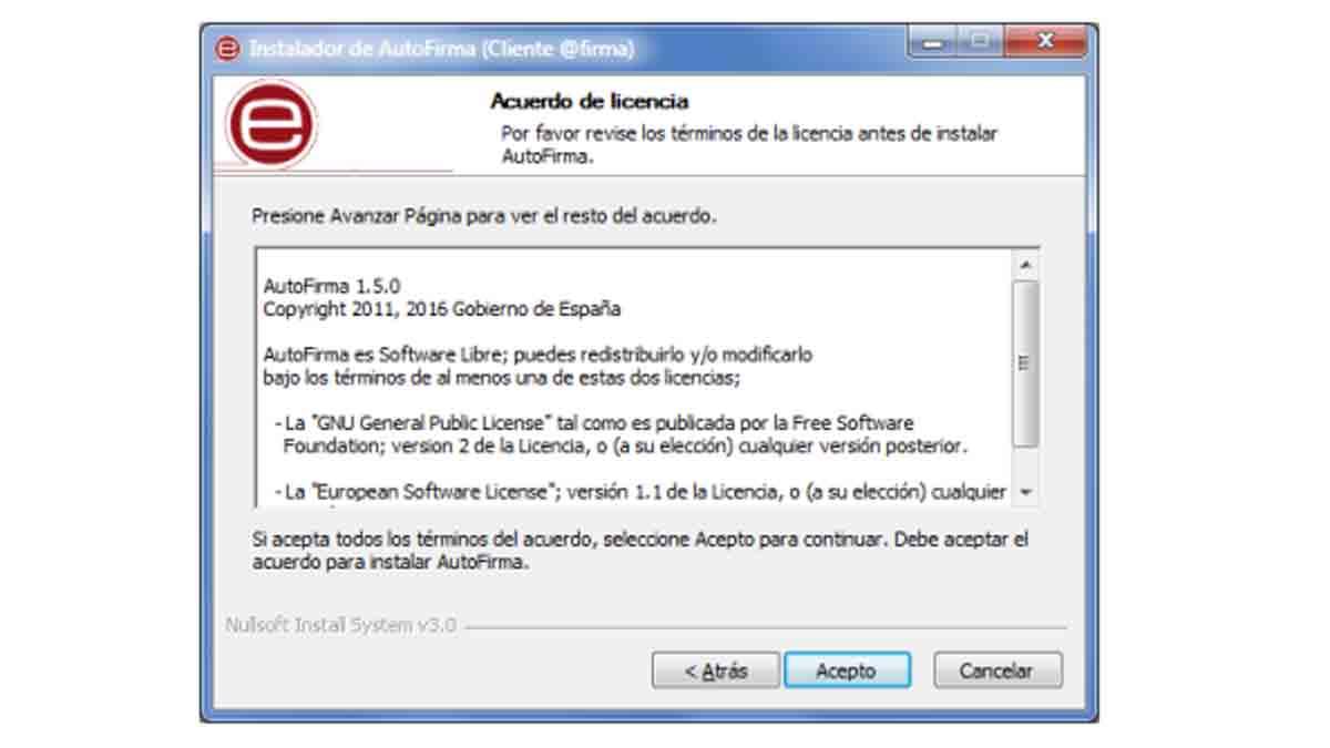 Aceptar los permisos de licencia de Autofirma