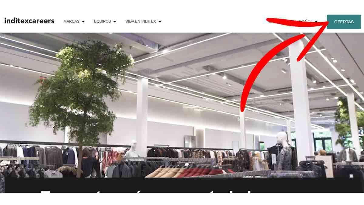 Página principal del portal de empleo de Inditex