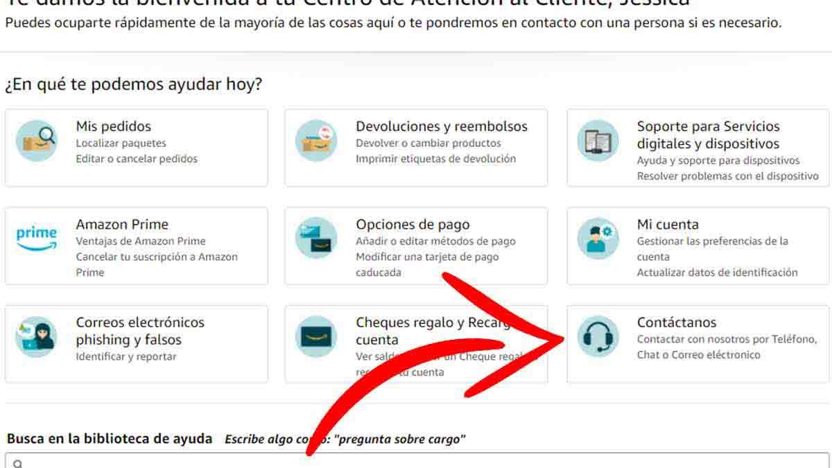 Acceso al contacto con el servicio de atención al cliente de Amazon
