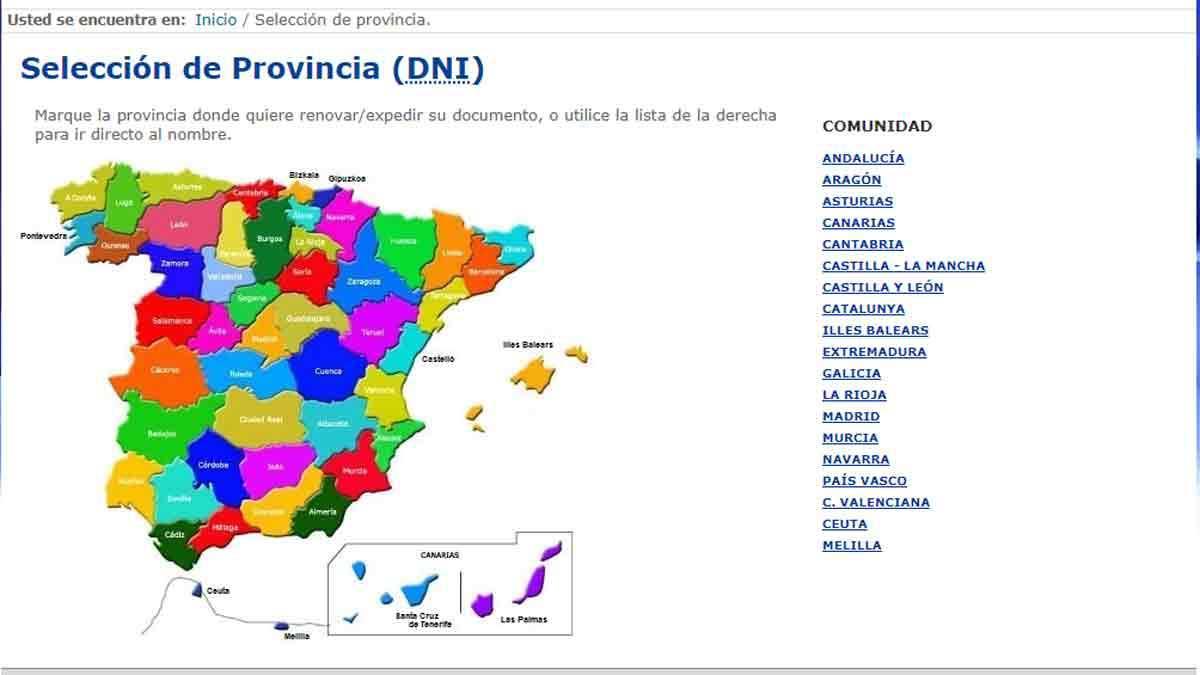 Seleccionar una provincia para ir a la cita previa y hacer el DNI